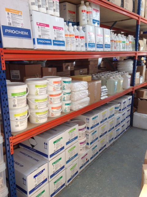 Shelves of cleaning supplies